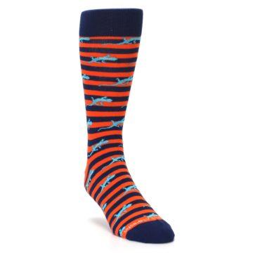 Image of Orange Navy Striped Lizards Men's Dress Socks (side-1-front-02)
