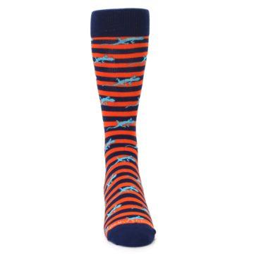 Image of Orange Navy Striped Lizards Men's Dress Socks (front-04)