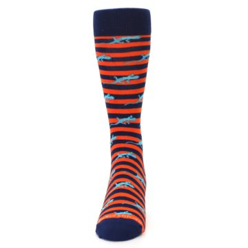Image of Orange Navy Striped Lizards Men's Dress Socks (front-05)
