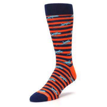 Image of Orange Navy Striped Lizards Men's Dress Socks (side-2-front-08)