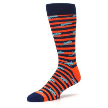 Image of Orange Navy Striped Lizards Men's Dress Socks (side-2-09)
