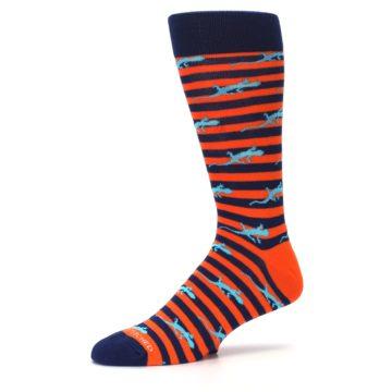 Image of Orange Navy Striped Lizards Men's Dress Socks (side-2-10)