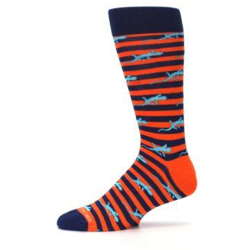 Image of Orange Navy Striped Lizards Men's Dress Socks (side-2-11)