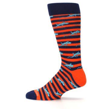 Image of Orange Navy Striped Lizards Men's Dress Socks (side-2-12)