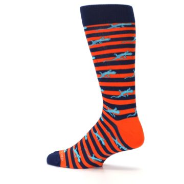 Image of Orange Navy Striped Lizards Men's Dress Socks (side-2-13)