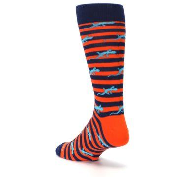 Image of Orange Navy Striped Lizards Men's Dress Socks (side-2-back-15)