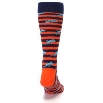 Image of Orange Navy Striped Lizards Men's Dress Socks (back-19)
