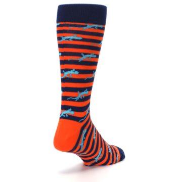 Image of Orange Navy Striped Lizards Men's Dress Socks (side-1-back-21)
