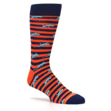 Image of Orange Navy Striped Lizards Men's Dress Socks (side-1-26)