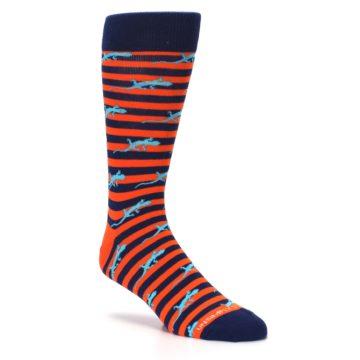 Image of Orange Navy Striped Lizards Men's Dress Socks (side-1-27)