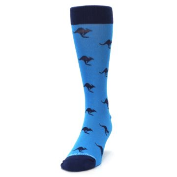 Image of Light Blue Navy Kangaroos Men's Dress Socks (side-2-front-06)