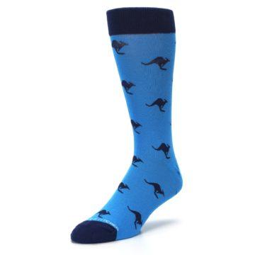 Image of Light Blue Navy Kangaroos Men's Dress Socks (side-2-front-08)