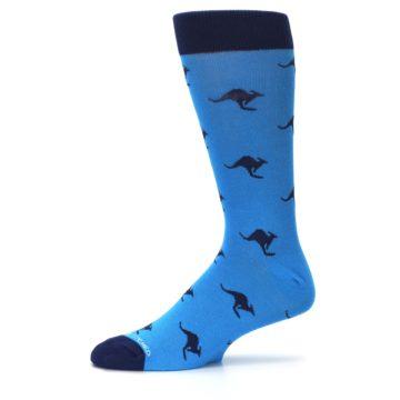 Image of Light Blue Navy Kangaroos Men's Dress Socks (side-2-11)