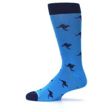 Image of Light Blue Navy Kangaroos Men's Dress Socks (side-2-12)