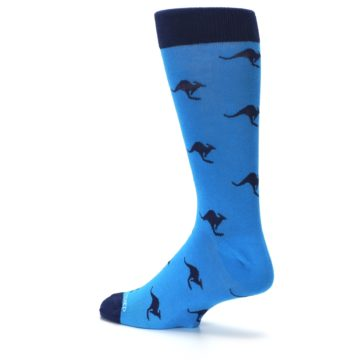 Image of Light Blue Navy Kangaroos Men's Dress Socks (side-2-back-14)
