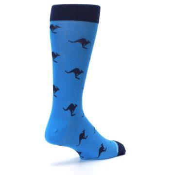 Image of Light Blue Navy Kangaroos Men's Dress Socks (side-1-back-22)