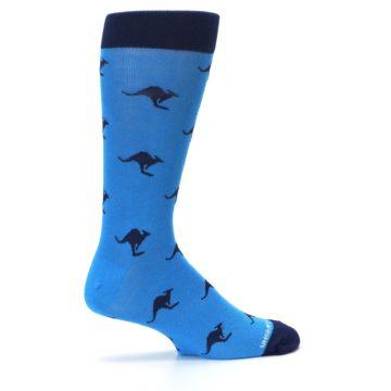 Image of Light Blue Navy Kangaroos Men's Dress Socks (side-1-24)