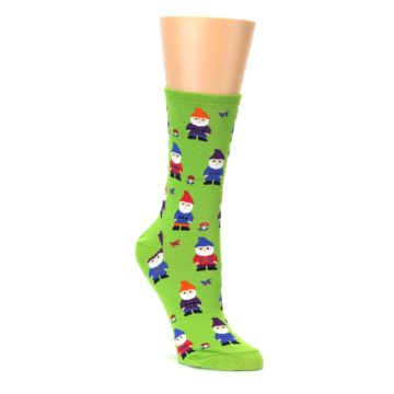 Lime green gnome garden womens novelty socks by socksmith