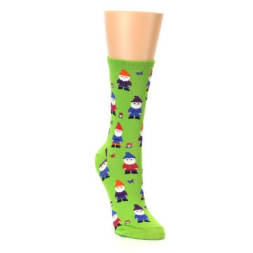 Image of Lime Green Gnomes Women's Dress Socks (side-1-front-02)