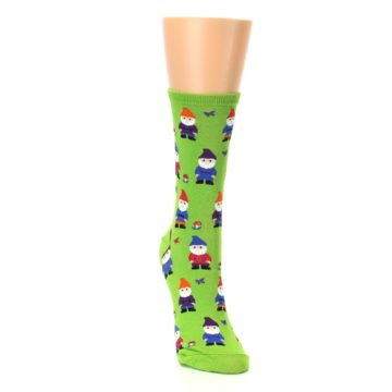 Image of Lime Green Gnomes Women's Dress Socks (side-1-front-03)
