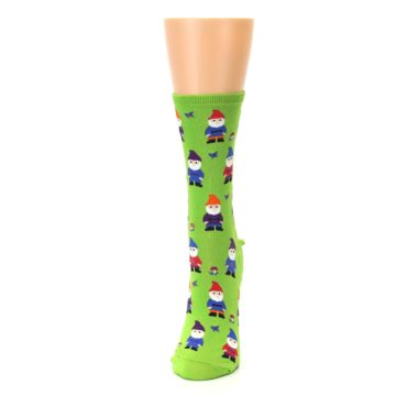 Image of Lime Green Gnomes Women's Dress Socks (side-2-front-06)