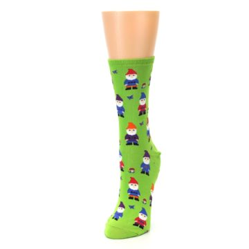 Image of Lime Green Gnomes Women's Dress Socks (side-2-front-07)