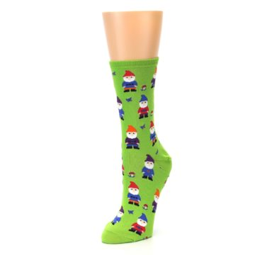 Image of Lime Green Gnomes Women's Dress Socks (side-2-front-08)