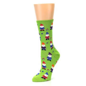 Image of Lime Green Gnomes Women's Dress Socks (side-2-09)