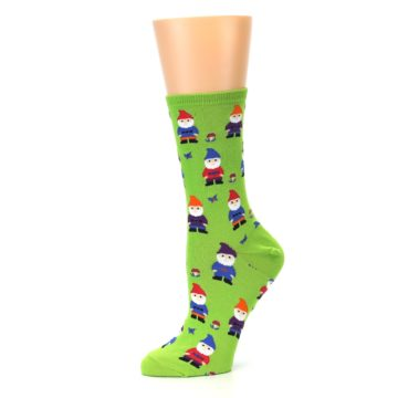 Image of Lime Green Gnomes Women's Dress Socks (side-2-10)