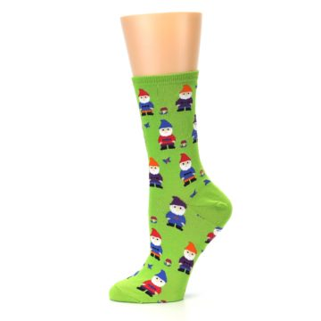 Image of Lime Green Gnomes Women's Dress Socks (side-2-11)