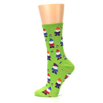 Image of Lime Green Gnomes Women's Dress Socks (side-2-12)