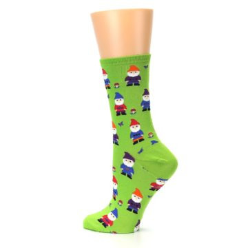Image of Lime Green Gnomes Women's Dress Socks (side-2-13)