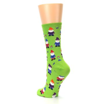 Image of Lime Green Gnomes Women's Dress Socks (side-2-back-15)