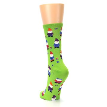 Image of Lime Green Gnomes Women's Dress Socks (side-2-back-16)