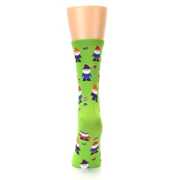 Image of Lime Green Gnomes Women's Dress Socks (back-18)