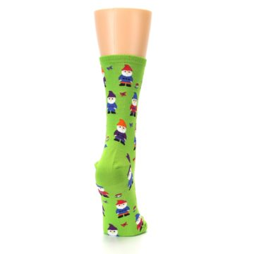 Image of Lime Green Gnomes Women's Dress Socks (side-1-back-20)