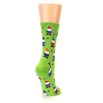 Image of Lime Green Gnomes Women's Dress Socks (side-1-back-21)