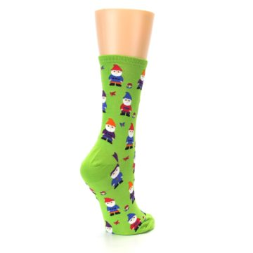 Image of Lime Green Gnomes Women's Dress Socks (side-1-back-22)