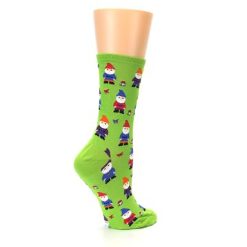 Image of Lime Green Gnomes Women's Dress Socks (side-1-23)