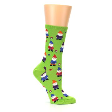 Image of Lime Green Gnomes Women's Dress Socks (side-1-25)