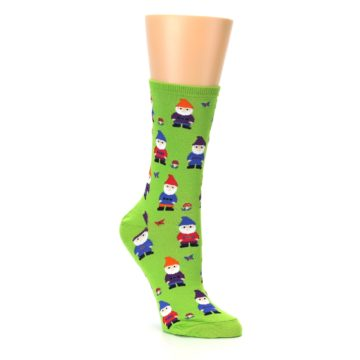 Image of Lime Green Gnomes Women's Dress Socks (side-1-27)
