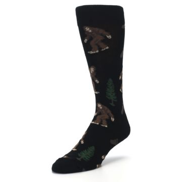 Image of Black Brown Bigfoot XL Men's Dress Socks (side-2-front-08)