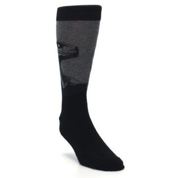 Image of Grey Black Raptor Dinosaur XL Men's Dress Socks (side-1-front-02)