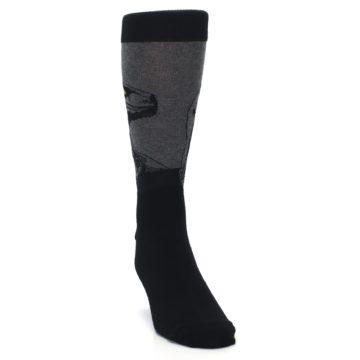 Image of Grey Black Raptor Dinosaur XL Men's Dress Socks (side-1-front-03)