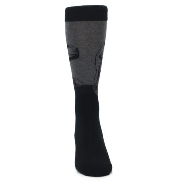 Image of Grey Black Raptor Dinosaur XL Men's Dress Socks (front-04)