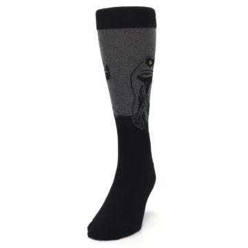 Image of Grey Black Raptor Dinosaur XL Men's Dress Socks (side-2-front-06)