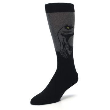 Image of Grey Black Raptor Dinosaur XL Men's Dress Socks (side-2-front-08)