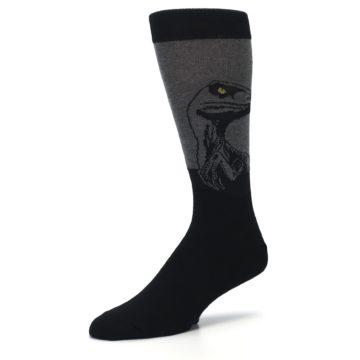 Image of Grey Black Raptor Dinosaur XL Men's Dress Socks (side-2-09)