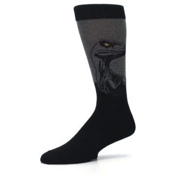 Image of Grey Black Raptor Dinosaur XL Men's Dress Socks (side-2-10)
