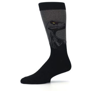 Image of Grey Black Raptor Dinosaur XL Men's Dress Socks (side-2-11)